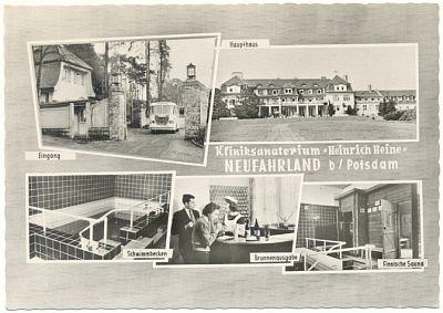 NEUFAHRLAND bei                                                   Potsdam (Brandenburg):                                                   Fotokarte:                                                   Kliniksanatorium                                                   'Heinrich Heine', 1964                                                   - 4,00 EUR