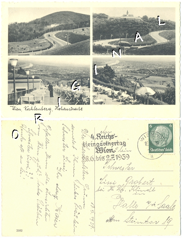WIEN 1939                   KAHLENBERG 4. Abb., REICHSKLEINGÄRTNERTAG - 8,00                   Eur