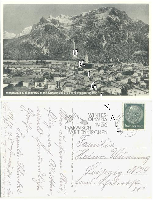 MITTENWALD Panorama 1935 gel. WINTEROLYMPIA 36 - 5,00 Eur