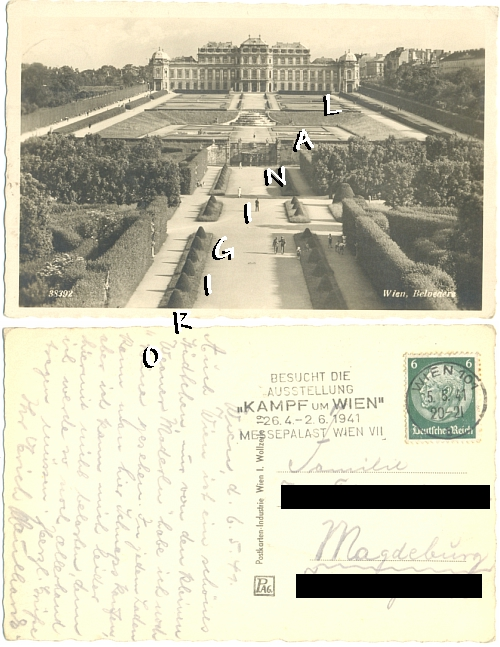 Fotokarte WIEN Belvedere, Leute                   1941 gelaufen - 10,00 Eur
