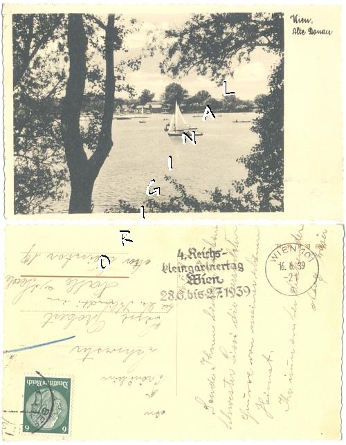 Fotokarte                   WIEN Alte Donau, Boote, 1939 gelaufen - 10,00 Eur