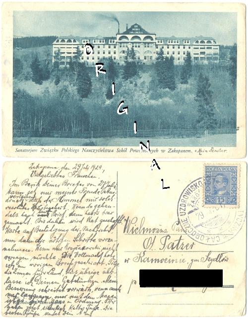 ZAKOPANE                   Sanatorium POLEN 1929 gelaufen - 12,00 Eur