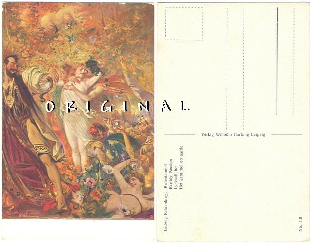 Alte AK EROTIK Künstlerkarte von Ludwig Fahrenkrog - 10,00 Eur