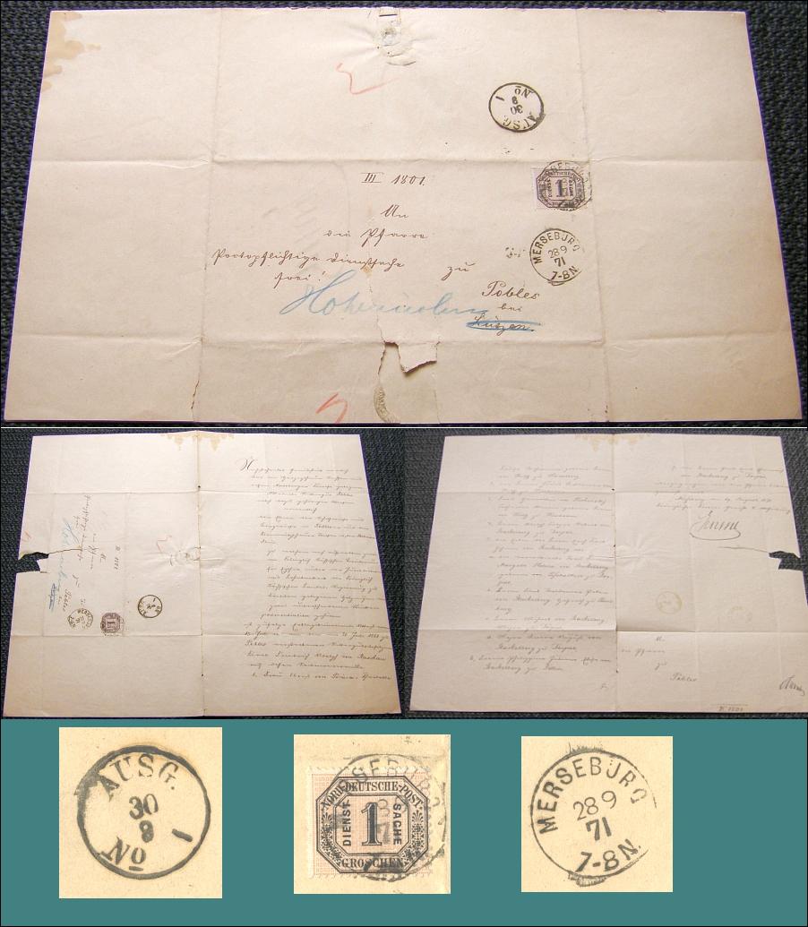 Brief 1871 von MERSEBURG (Anhalt) nach POBLES (Anhalt) DIENSTSACHE - 30,00 Eur