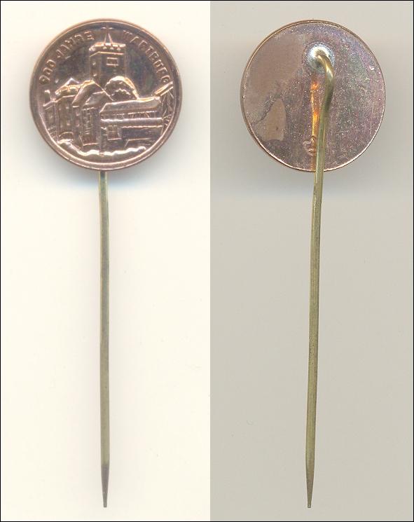 Anstecknadel: 900 Jahre WARTBURG - 1967, Ø 1,8 cm - 12,00 Eur