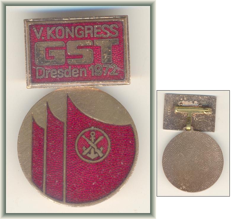 Schweres Abzeichen: V. KONGRESS GST DRESDEN 1972 - 30,00 Eur