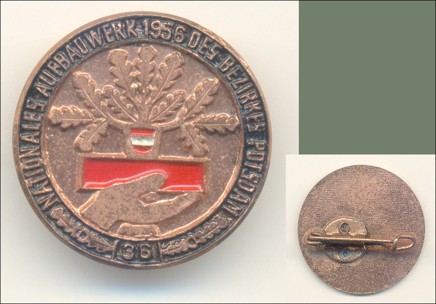 Abzeichen: NATIONALES AUFBAUWERK 1956 DES BEZIRKES POTSDAM '36', NAW  - 13,00 Eur