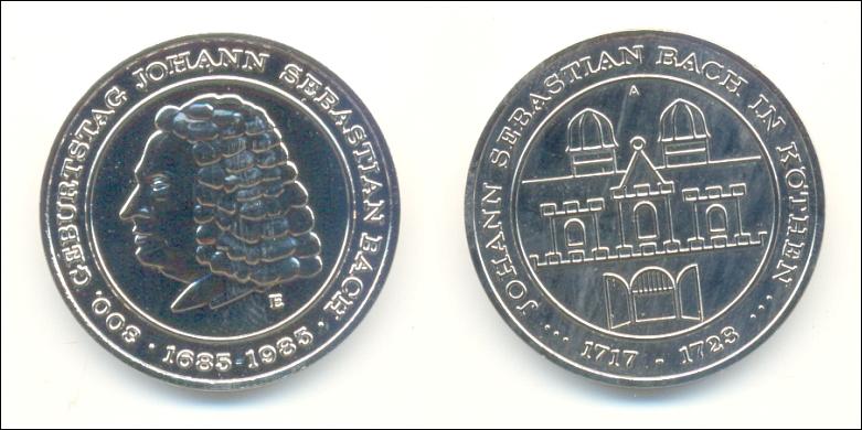 DDR-Medaille von 1985: J. S. BACH in Köthen - 12,00 Eur