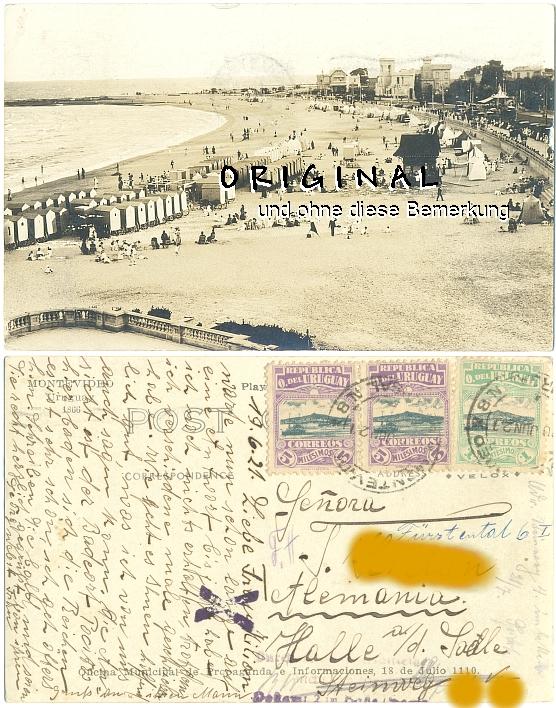 Fotokarte: MONTEVIDEO Uruguay:                   Strandleben, 1921 gelaufen - 15,00 Eur