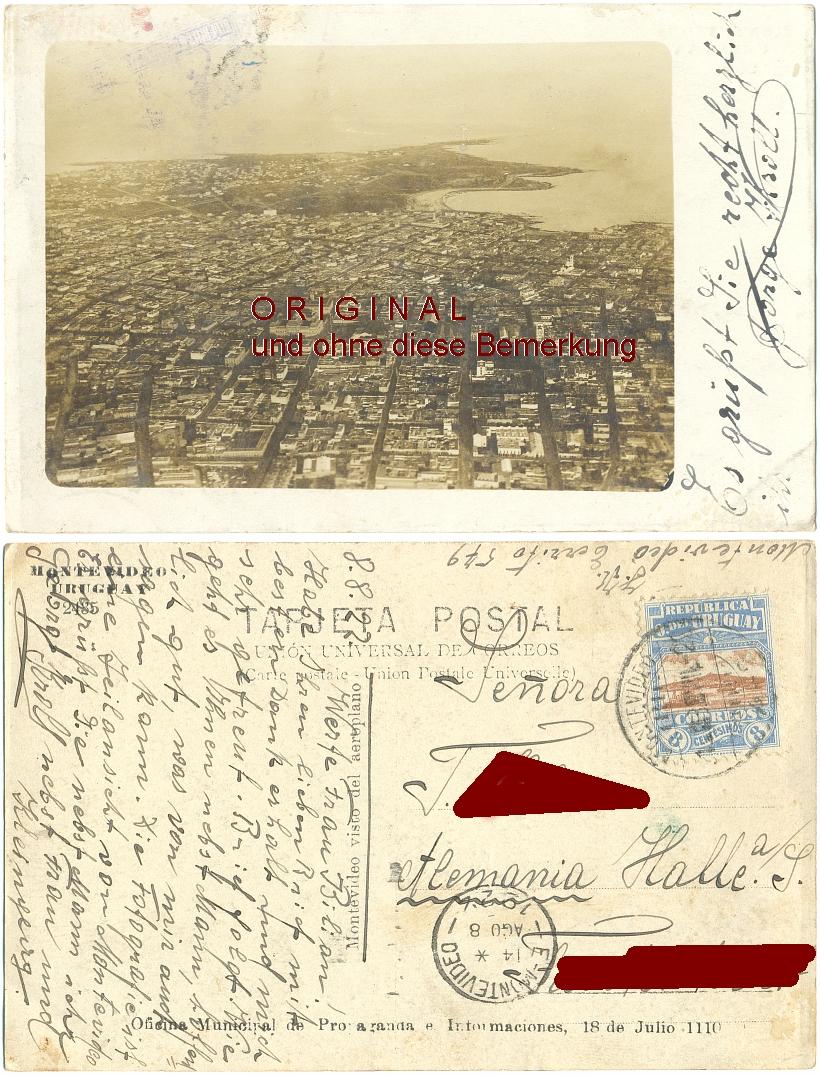 Fotokarte: MONTEVIDEO                 Uruguay: von oben, 1922 gelaufen - 15,00 Eur