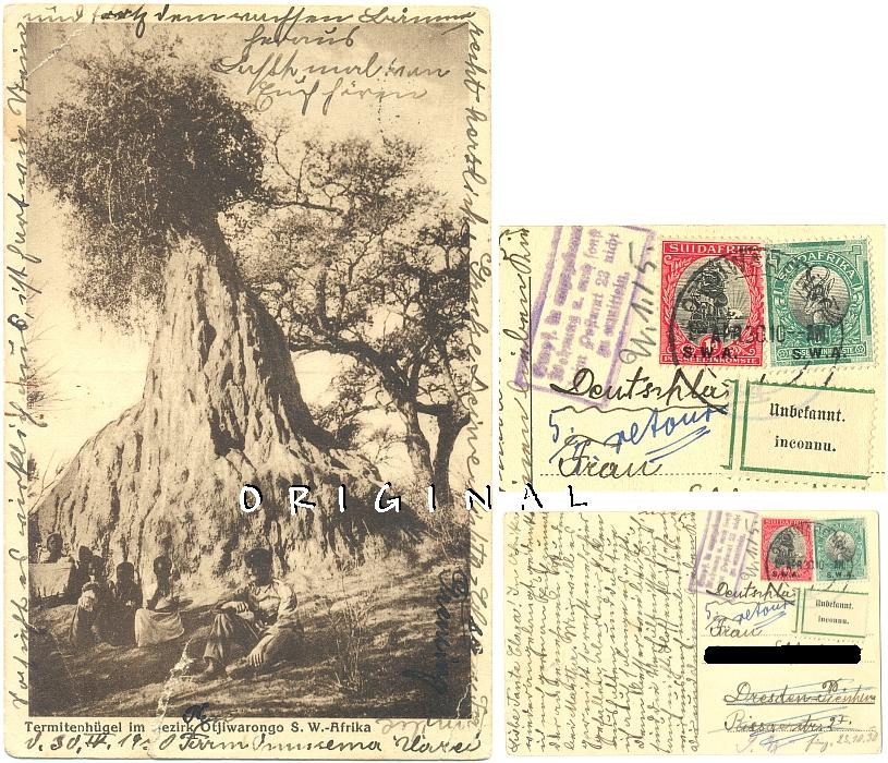 AK: SW-AFRIKA 1930 Termiten;                 Otjiwarongo - Dresden RETOUR - 15,00 Eur