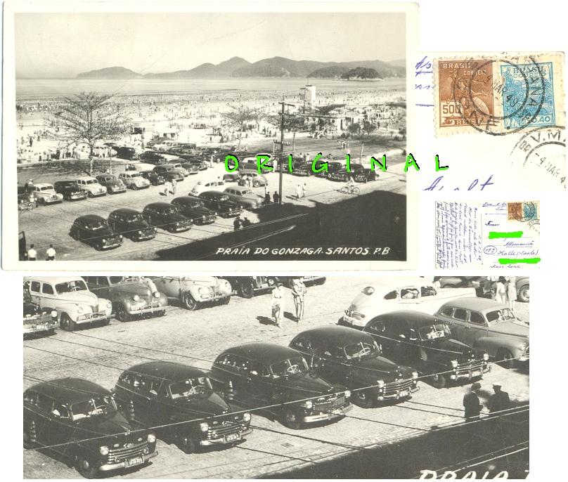 Fotokarte: SANTOS Brasil: Strand,                 Autos, Leute; 1949 gelaufen - 20,00 Eur