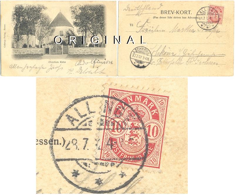 AK: ØSTERLARS RUNDKIRCHE in                 Dänemark, 1902 gelaufen - 25,00 Eur