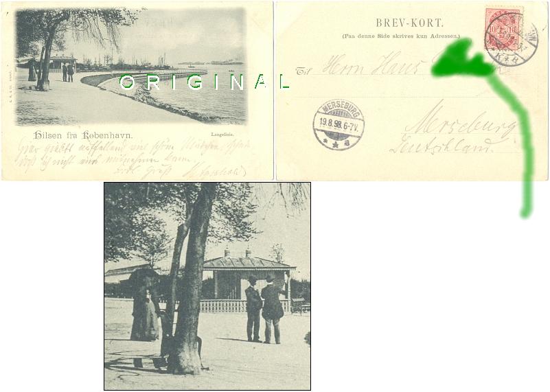 AK: KOPENHAGEN Langelinie; 1898                 nach Merseburg gelaufen - 20,00 Eur