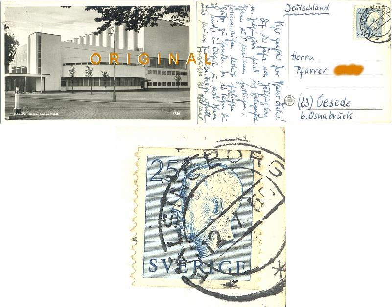 Fotokarte,                 AK: HELSINGBORG Konzerthaus SCHWEDEN; 1955 nach Oesede -                 12,00 Eur