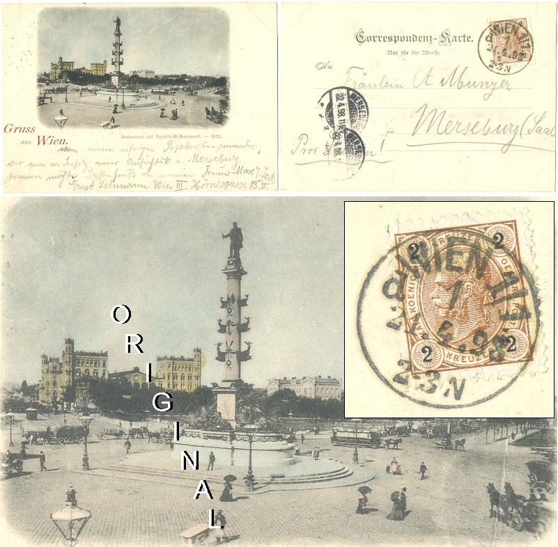 AK: WIEN                 Praterstern, Tegetthoff-Monument; 1898 gelaufen - 22,00                 Eur