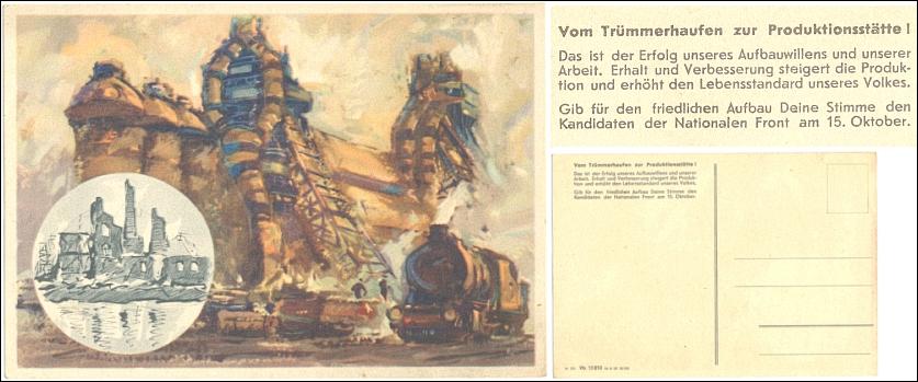 AK, Ansichtskarte: DDR-Wahlwerbung 1950: NATIONALE FRONT - 17,00 Eur