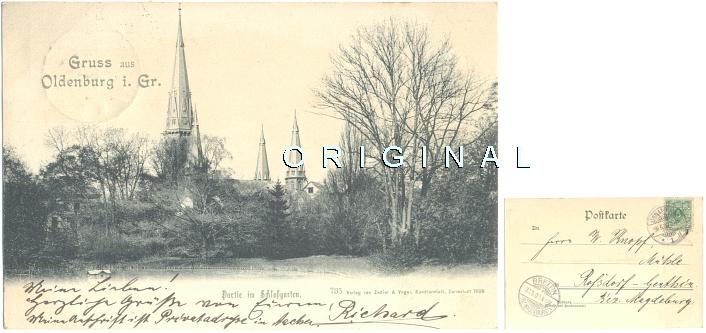 AK: OLDENBURG im Gr., 1900 nach Roßdorf-Genthin - 18,00 Eur