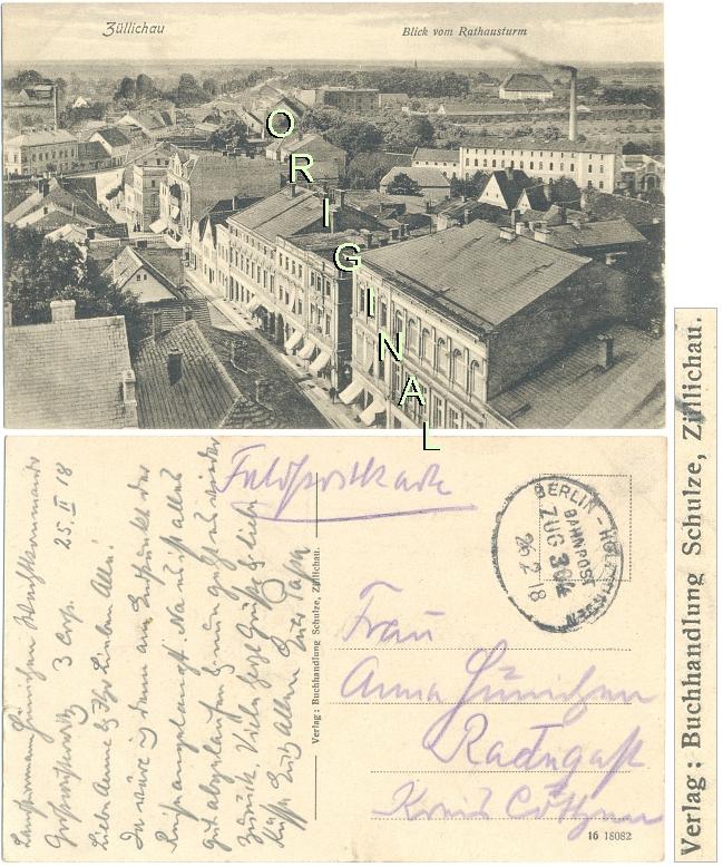 AK, FELDPOST 1918: ZÜLLICHAU (Posen) Blick vom Rathausturm; BAHNPOST Zug 304 - 23,00 Eur