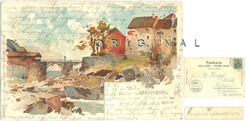 LITHO: LAUFENBURG am Rhein                 (Aargau); 1900 gelaufen - 15,00 Eur