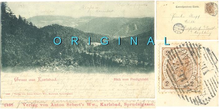 AK KARLSBAD:                   Blick vom Predigtstuhl; 1898 nach Roßdorf                   gelaufen - 15,00 Eur