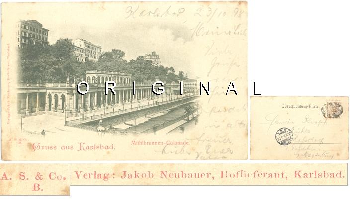 AK KARLSBAD:                   Mühlbrunnen-Colonade; 1898 nach Roßdorf                   gelaufen - 15,00 Eur