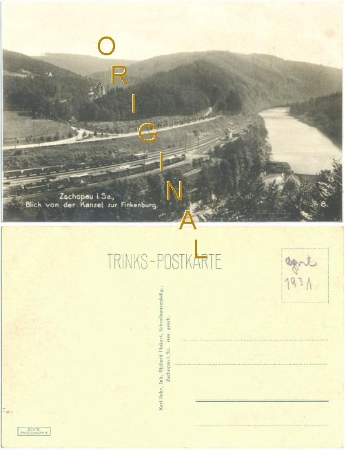 Fotokarte: ZSCHOPAU in Sachsen: Blick von der Kanzel zur Finkenburg; Güterwagen; vor 1931 - 8,00 Eur