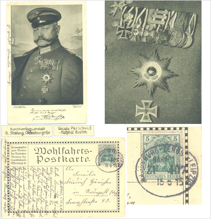 Wohlfahrtskarte: HINDENBURG, Bahnpost 1915, ORDEN - 13,00 Eur