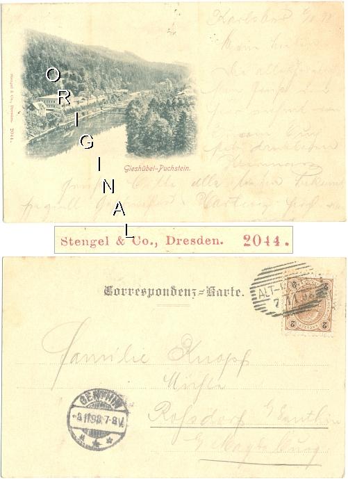 AK: GIESHÜBEL-PUCHSTEIN (Tschechien); 1898                   gelaufen - 8,00 Eur