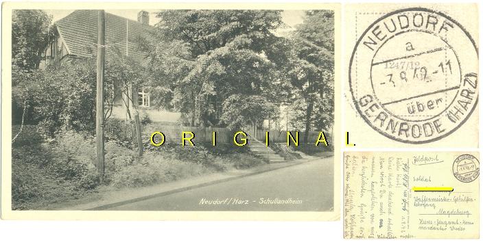 AK, FELDPOST 1942: NEUDORF (Harz) SCHULLANDHEIM - 8,00 Eur
