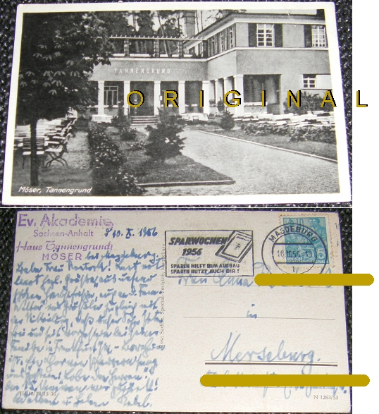 AK: MÖSER (Sachsen-Anhalt) Tannengrund; 1956 gelaufen - 5,00 Eur