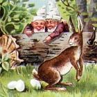 Feldpost, Ostern: ZWERGE, Hase legt                             Eier; LITHO, 1902 nach Gleiwitz gelaufen -                             7,00 Eur