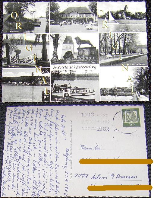 RATZEBURG, Glanzkarte: 9                                     Ansichten, 1962 gelaufen - 4,00 EUR