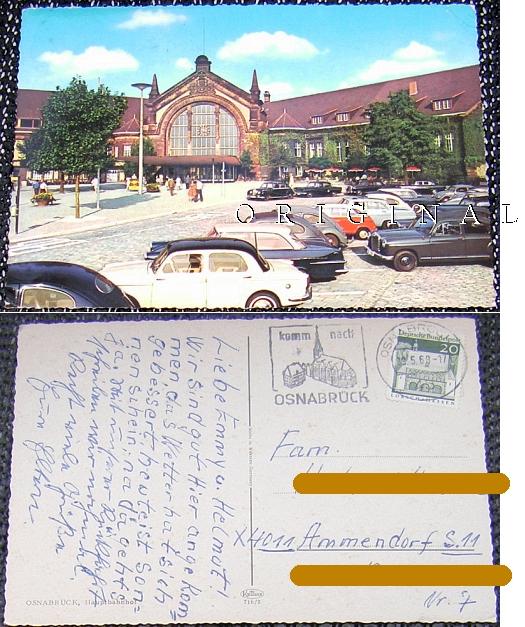 OSNABRÜCK,                                             Glanzkarte: 1968 gelaufen,                                             Hauptbahnhof, PKWs - 4,00                                             EUR