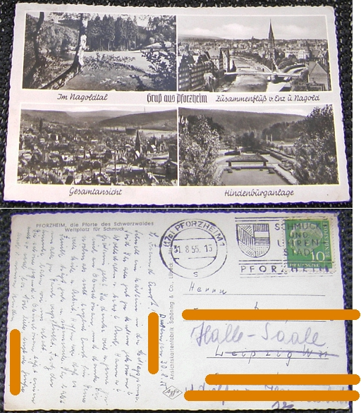 Fotokarte: PFORZHEIM 4 Abb., 1955                                   gel.; Stempel: Schmuck-und Uhrenstadt                                   - 3,00 EUR