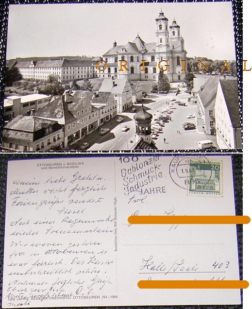 Fotokarte: OTTOBEUREN Straße BASILIKA 1969 gel. - 4,00 Eur