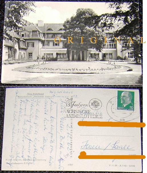 """Fotokarte: NEU                                                   FAHRLAND Sanatorium                                                   """"Heinrich                                                   Heine""""; 1962 -                                                   3,00 EUR"""