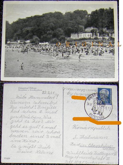 Ostseebad                                                     GÖHREN                                                     (Rügen)                                                     Strandleben und                                                     Strandkonditorei;                                                     1951 gelaufen - 2,00                                                     EUR