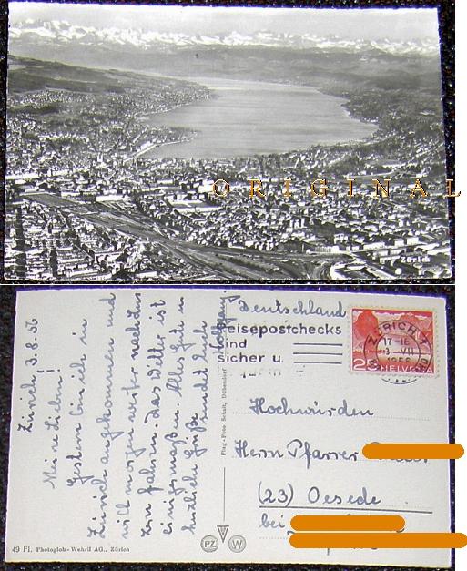 Glanzfotokarte: ZÜRICH Panorama; 1956                   gelaufen - 3,00 Eur