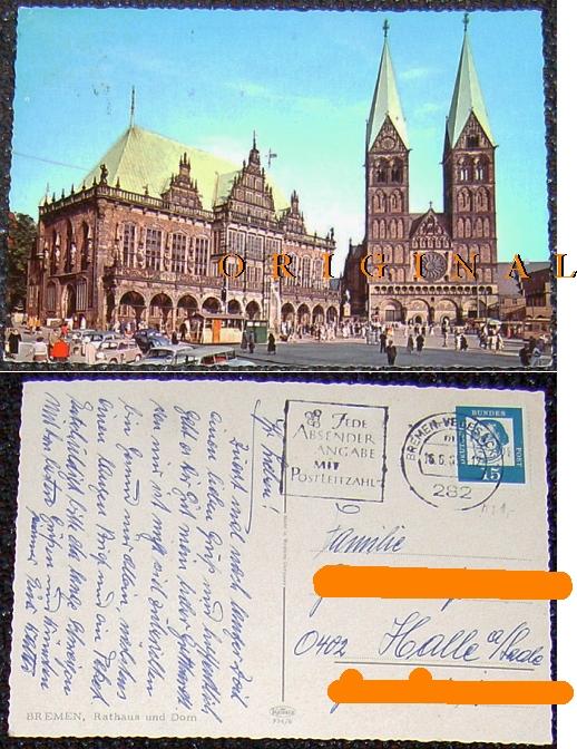 BREMEN: Rathaus, Dom, Leute; 1965                                   gelaufen - 3,00 EUR