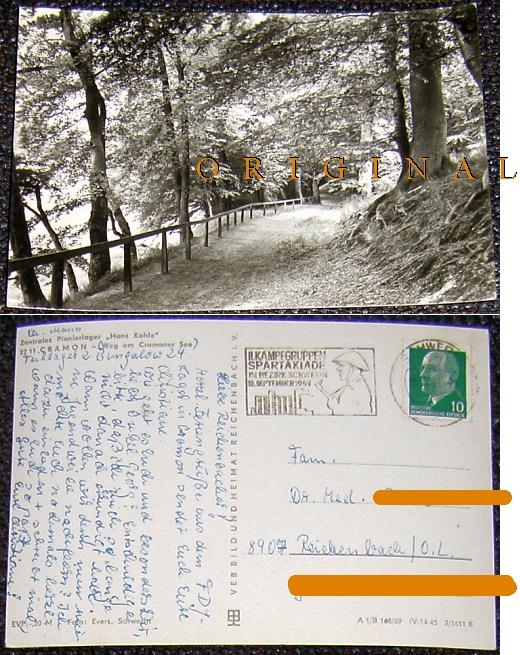 Fotokarte: CRAMON Weg am Cramoner See -                           PIONIERLAGER; 1969 gelaufen - 3,00 EUR