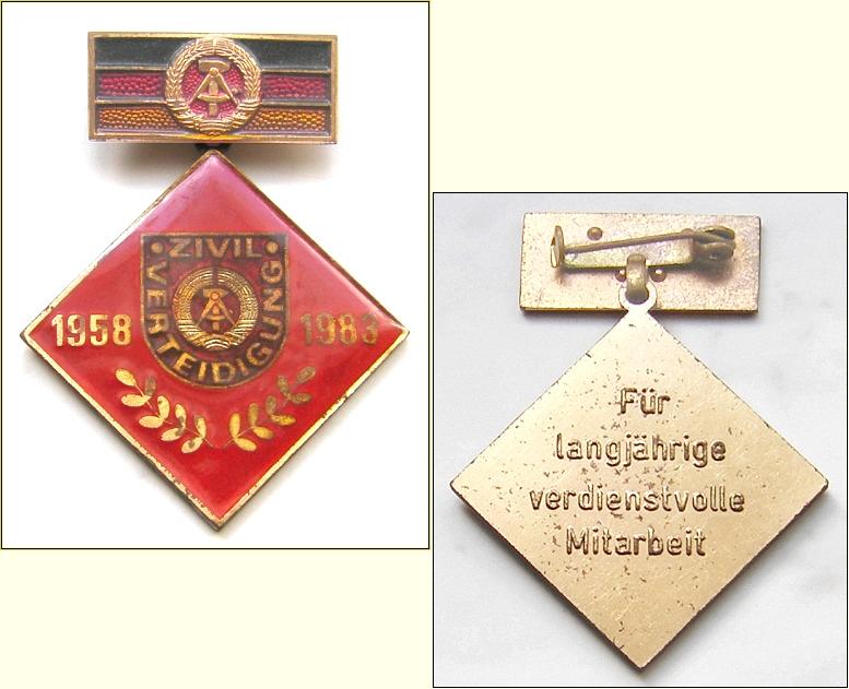 DDR-Abzeichen: ZIVILVERTEIDIGUNG 1958 - 1983 Für langjährige verdienstvolle Mitarbeit - 13,00 Eur