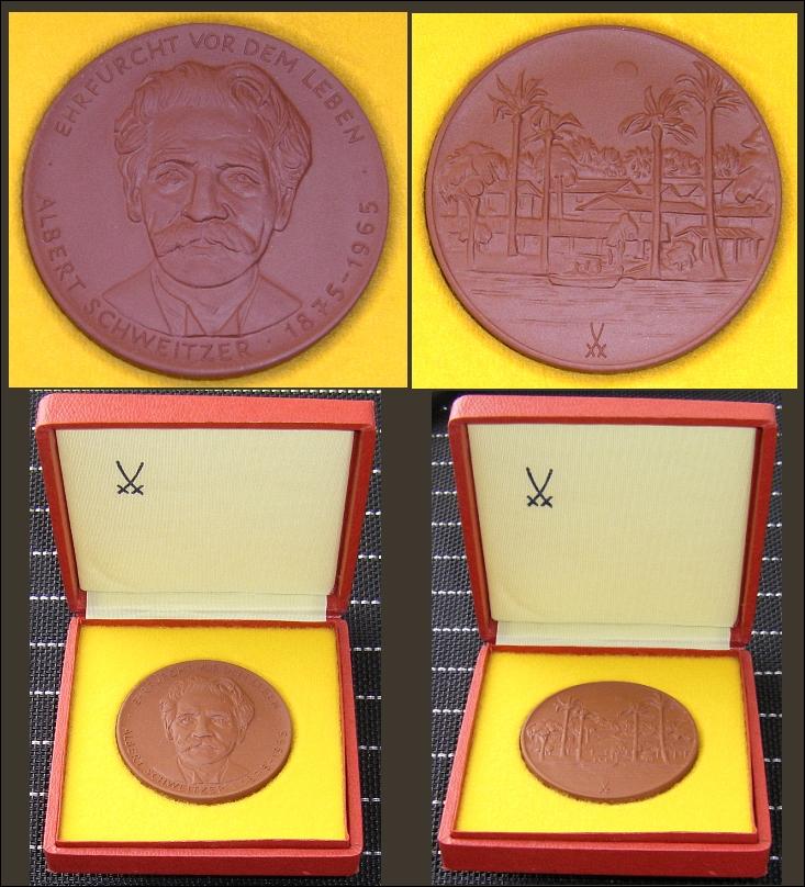 Meißner Porzellanmedaille: ALBERT SCHWEITZER 1875-1965 Ehrfurcht vor dem Leben - 28,00 EUR