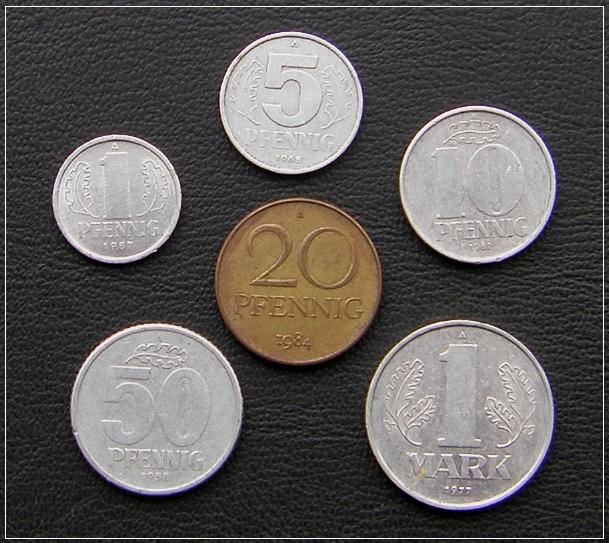 DDR-KLEINGELD: 1 Pfennig bis 1 Mark - 5,00 Eur