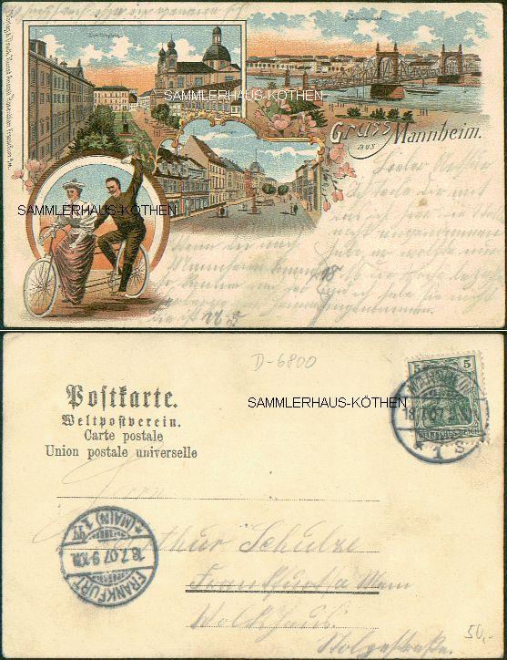 Mannheim: 4 Ansichten, 1907                                     gelaufene LITHO - 24,00 EUR