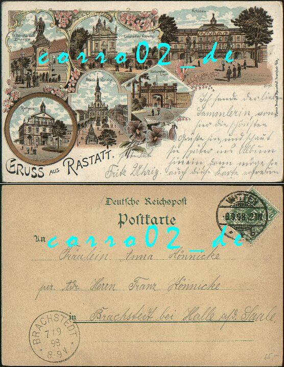 RASTATT                                       (Baden-Württemberg) 6                                       Ansichten; 1898 gelaufene LITHO -                                       32,00 EUR