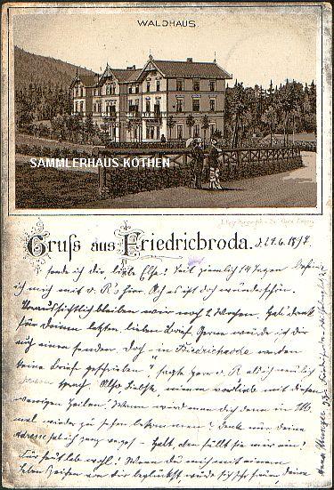 FRIEDRICHRODA (Thüringen) Waldhaus; Gruss aus, 1897 gelaufene LITHO - 20,00 EUR