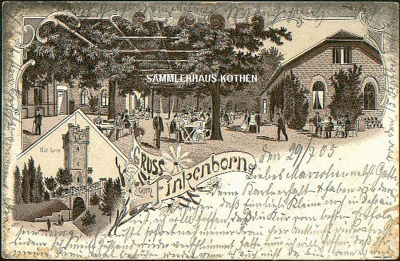 FINKENBORN (Niedersachsen) Gaststätte Turm, 1905 gelaufene LITHO - 15,00 EUR