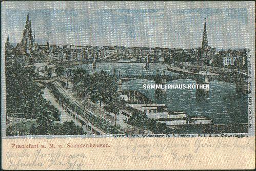 FRANKFURT am Main (Hessen) imit. Seidenkarte, D.-R.-Patent, 1902 gelaufen - 24,00 EUR