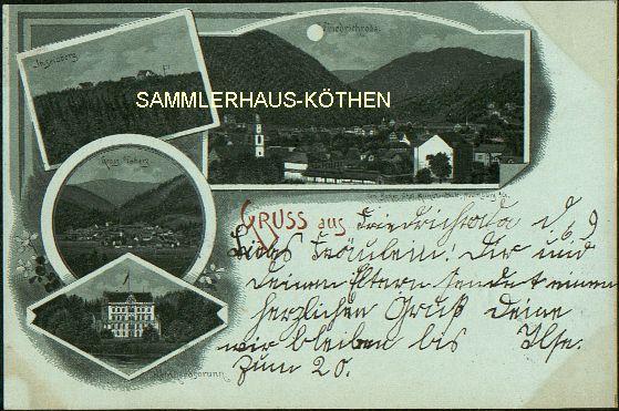 FRIEDRICHRODA (Thüringen) 4 Ansichten; 1898 gelaufene LITHO - 15,00 EUR